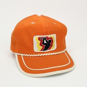 Vintage Bright Orange Retro Rope Golf Hat